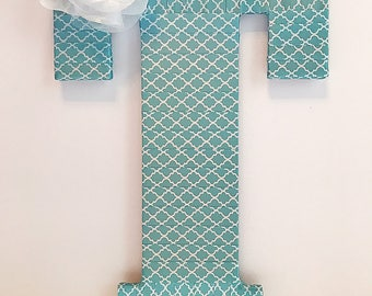 Front Door Decor, Decorative Letters, Door Initial, Wreath Initial, Pink and Teal Decor, Pink and Teal Baby Shower, Initial for Door