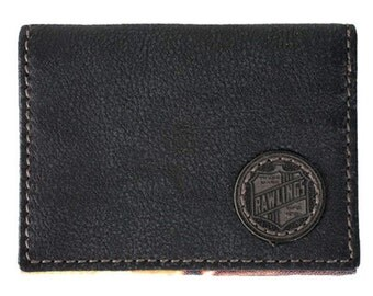 Black Rawlings Vintage  Leather Bi-fold  Wallet Leather Card Holder Baseball Glove Wallet.  Special  Pricing Free Shipping