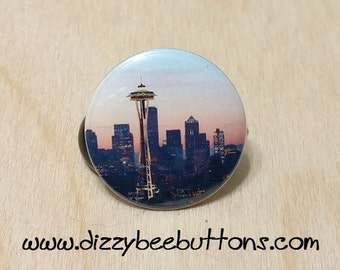 "Seattle Skyline Space Needle - 1.25"" or 1.5"" - Button - Magnet - Keychain - Travel - Washington - Emerald City"