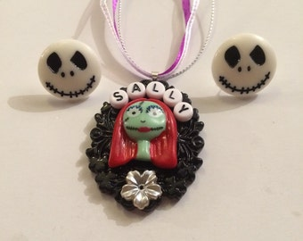 Handmade nightmare before Christmas jack and sally necklace and earring set