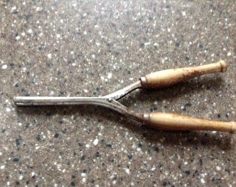 Antique Mustache Curling Iron With Wooden Handles