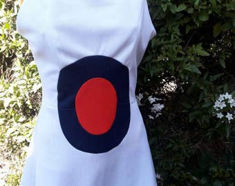 Vintage 1970s Polyester Bulls Eye Mod Tennis Dress Made By McAodns Tennis Of California So Cute