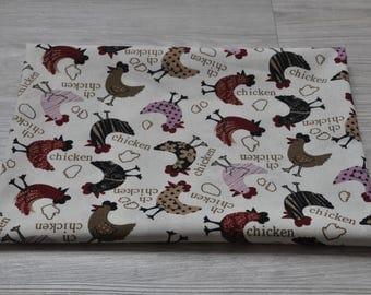 cotton chicken fabric 1/2 yard