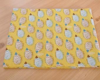 hedgehog cotton fabric 1/2 yard yellow