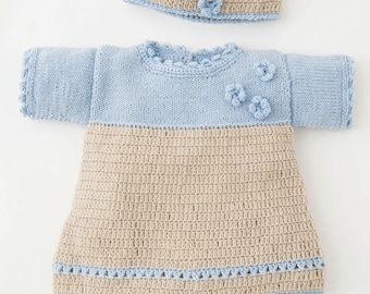 Hand knitted baby girl set dress+pants+hat in beige+blue. Cotton. 0-1.5 / 1.5-6 / 6-12 months. Baby shower gift. Made to order.