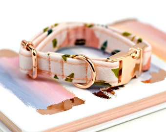 Dog Collar - Watercolor Floral - Pinks/Corals - Rose Gold Hardware