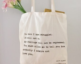 Pride and Prejudice Quote Tote Bag/ Jane Austen/ Screen Printed Typewriter Text/ Tote bag for books, students, gifts, bridal shower