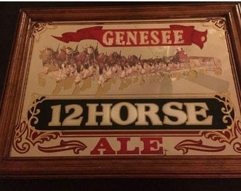 "1970 Genesse 12 Horse Ale Framed Mirror 23""x17"""