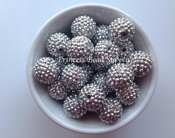 22mm Silver AB Rhinestone Chunky Beads Set of 10,  Silver Rhinestone Beads, Bubble Gum Beads, Gumball Beads, Acrylic Beads