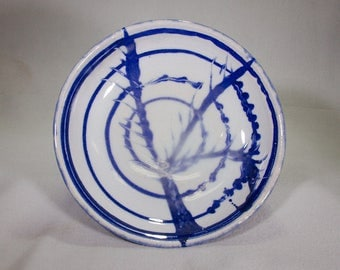 Dramatic Blue and White Stoneware Wheel Thrown Ceramic Bowl with Circles and Branch Pattern