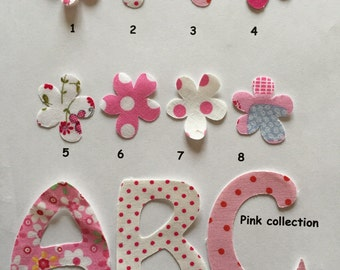 5 Iron on fabric letters , patches- motif for all occasions personalisation, all ages, 7 cm (3 inches)  high Pink collection