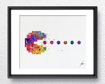 Pac-Man Atari Video Game inspired, Watercolor Art, Print, Poster Giclee, Wall Decor, Art Home Decor, Wall Hanging, Item 333