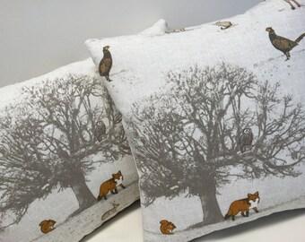 Woodland Design Cushion Cover, Cushion Cover, Woodland, Stag, Fox, Decorative Pillow, Home Decor Cushion