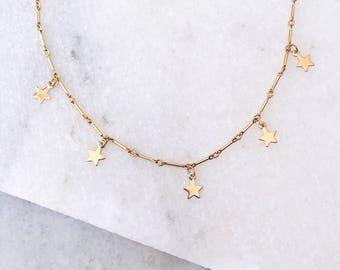Stars Choker Necklace, Choker Necklace, Gold Star, Delicate Necklace, Dainty Choker, Star Choker, Layering Choker, Gold filled Star