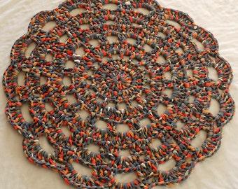 Crochet rug, round rug, bohemian rug, small round rug