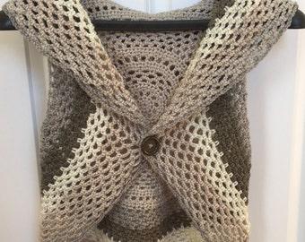 Women crochet circular vest for spring or summer