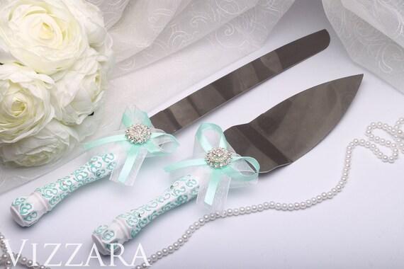 Wedding Cake Server Knife Set Mint HandPAINTED ENGRAVING Wedding