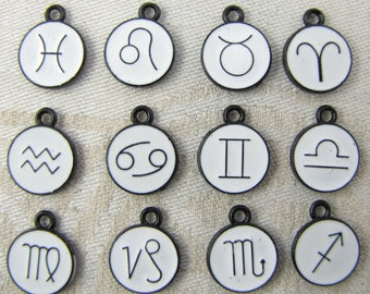 Set of (12) White Enamel Astrology Graphic Icon (full year) Charms 12 per package COL015