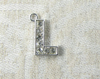 "Platinum Rhinestone Letter ""L"" Charm 1 or 5 letters per package ALF022l-PL"