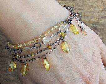 Sterling silver amber bracelet citrine braclet artisan jewelry artisan bracelet boho bracelet  handmade bracelet rustic bracelet raw jewelry