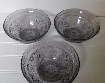 Amethyst Glass Chris D'Arques Salad Soup Bowls Set of Four