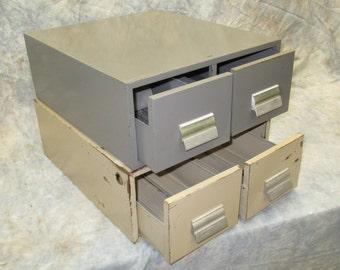 2 Drawer Metal File Cabinet Box, Metal Organizer Box, Vintage Stacking Storage Box, Library Card Box, Index Card Box, Metal Filing Box