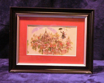 1964 mary poppins matted framed vintage disney print