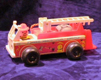 Fisher Price Firetruck #720 Fire Engine Little People 1968 Wooden Toy