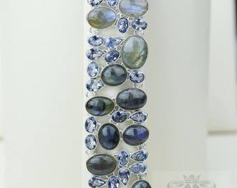 Canadian Labradorite IOLITE 925 S0LID Sterling Silver Bracelet B2425