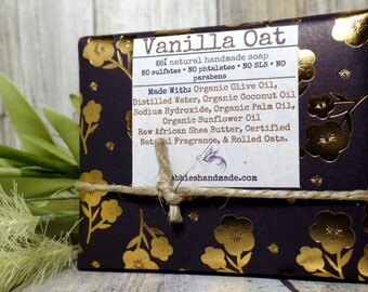 Vanilla and Oatmeal Soap, Homemade Soap, Organic Soap, Natural Soap, Vegan Soap, Soap Bars, Moisturizing Soap, Natural Skincare, Organic