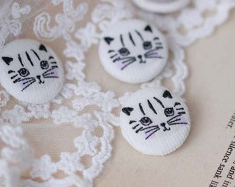 10 pcs Buttons,Animal cat Round Buttons,Fabric Buttons For Child,25mmx25mm(147-12)