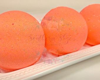 Bath Bomb- Glitter Bath Bomb- Bath Bombs- Coral- Orange- Bath Fizzy- Kids Bath- Gift Ideas- Gifts for Her- Sun Kissed