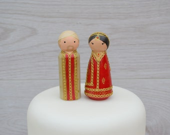 Asian Bride & Groom Cake Toppers - Personalised Wedding Cake Toppers  - Peg Doll Cake Toppers - Asian Wedding Toppers
