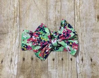 Floral headwrap- multi colored headwrap- headwrap- headband- retro- bow