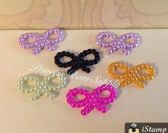 """6 pieces - 3/4"""" asstd pearl bow tie acrylic cabochon flat back for hair bow center hair bows hairbow shabby headband embellishment princess"""