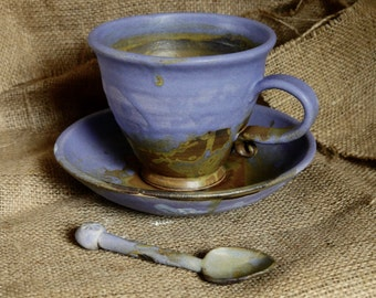 Large organic stoneware cup, saucer and spoon