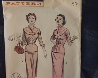 Vintage Butterick 1940's Two Piece Dress Suit Pattern #6924