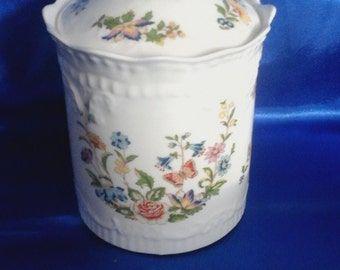 Aynsley Fine Bone China Lidded Pot the Cottage Garden Design, Made in England