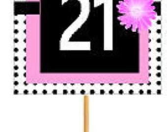 Happy 21st Birthday Pink w. Black Polka Dot Novelty Cupcake Decoration Topper Picks -12ct