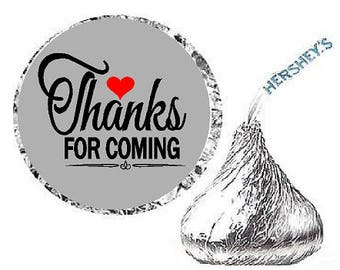 Thanks for Coming Grey Heart Party Favor Hershey Kisses Candy Stickers / Labels -216ct
