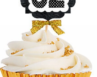 32nd Birthday / Gold Ribbon with Polka Dot Numbers Cupcake Picks / Toppers -12ct.