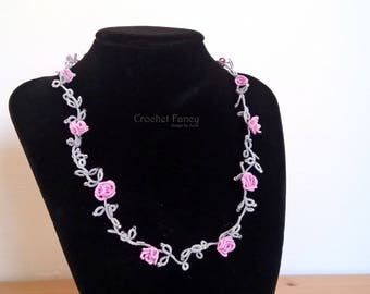 Flower grey tatted neckalce / Tatting lace jewelry / Pink roses / lightweight choker / Great mothers gift