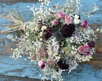 Valentine Rose Garden Dried Flower Wedding Bouquet