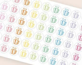 54 birthday stickers, party sticker, planner stickers, birthday gift box, birthday label eclp filofax happy planner kikkik