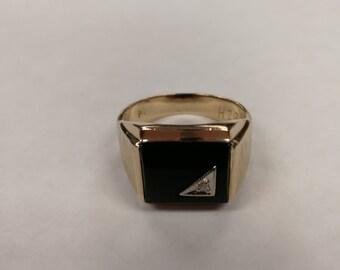 10K Men's Onyx Ring