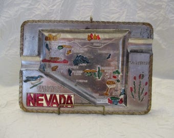 Silver Plated NovCo Nevada State souvenir ashtray