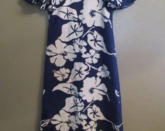 Vintage Hand made Hawaiian blue flower print dress- XS/S
