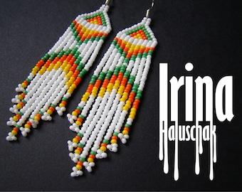 Beaded earrings, Boho style, long fringe earrings, beadwork jewelry, dangle earrings Native American style seed bead earrings white earrings