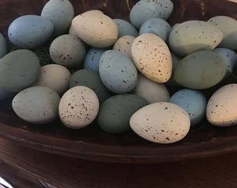 Primitive Eggs, Speckled Eggs, Easter Eggs, Farmhouse Spring Speckled Eggs, Faux Eggs, Farm Fresh Eggs, Spring Decor,