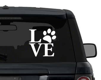 Pawprint LOVE dogs decal sticker for car truck laptop yeti ANY COLOR die cut vinyl